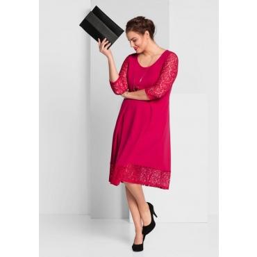 Große Größen: A-Linien-Kleid mit Spitze, dunkelpink, Gr.44-58