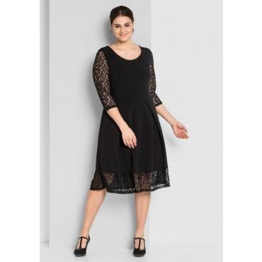 Große Größen: A-Linien-Kleid mit Spitze, schwarz, Gr.44-58