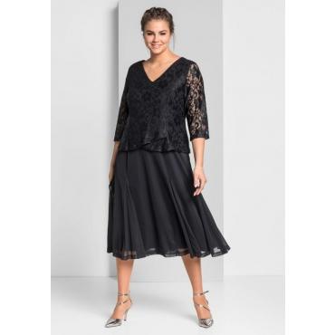 Große Größen: Abendkleid aus floraler Spitze, schwarz, Gr.44-58