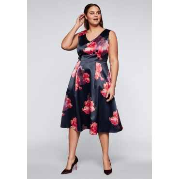 Große Größen: Abendkleid aus Satin mit Blumendruck, marine bedruckt, Gr.44-58