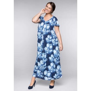 Große Größen: Abendkleid im Lagen-Look, marine bedruckt, Gr.44-58
