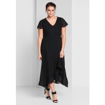 Große Größen: Abendkleid mit asymmetrischem Saum, schwarz, Gr.44-58