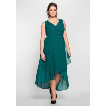 Große Größen: Abendkleid in Wickeloptik, smaragd, Gr.40-58