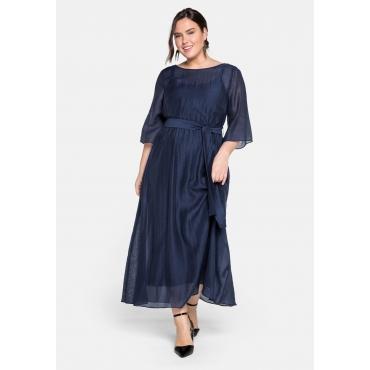 Abendkleid lang in sehr weiter Form mit Bindeband, dunkelblau, Gr.44-58