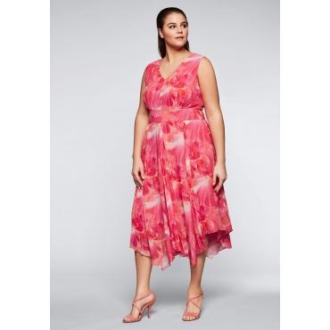 Große Größen: Abendkleid mit Blumendruck in A-Linie, korallrot, Gr.44-58