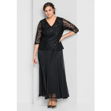 Große Größen: Abendkleid mit floraler Spitze, schwarz, Gr.44-58