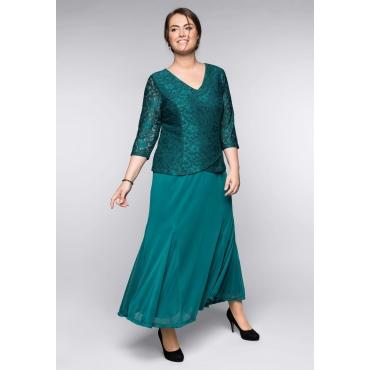 Große Größen: Abendkleid mit floraler Spitze, smaragd, Gr.44-58