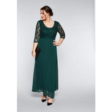 Große Größen: Abendkleid mit floraler Spitze, tiefgrün, Gr.44-58