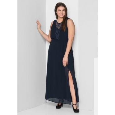 Große Größen: Abendkleid mit leicht transparentem Spitzeneinsatz, marine, Gr.44-58