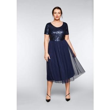 Große Größen: Abendkleid mit Pailletten, marine, Gr.44-58