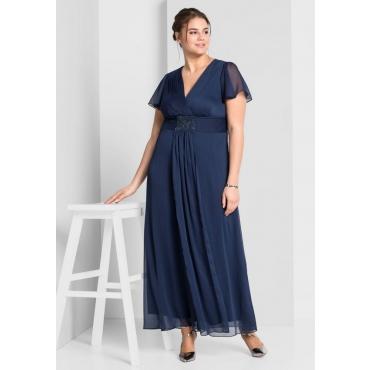Große Größen: Abendkleid mit Schmuckbrosche, marine, Gr.44-58