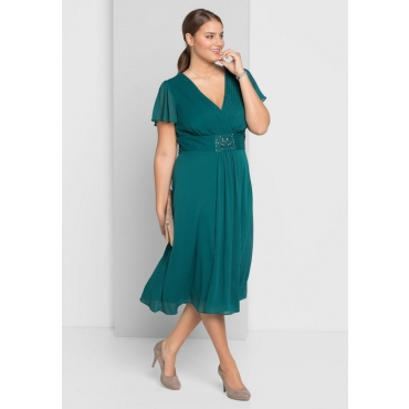 Große Größen: Abendkleid mit Schmuckbrosche, opalgrün, Gr.40-58