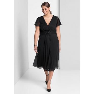 Große Größen: Abendkleid mit Schmuckbrosche, schwarz, Gr.40-58
