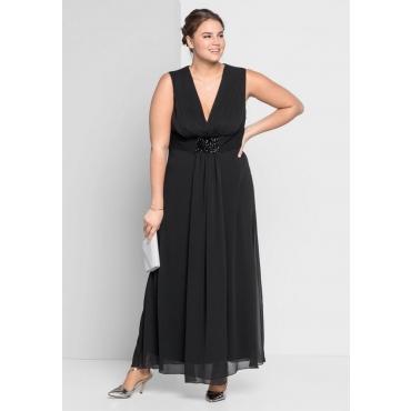 Große Größen: Abendkleid mit Schmuckbrosche, schwarz, Gr.44-58