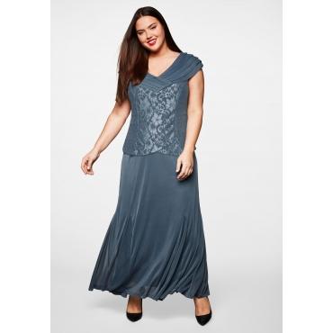 Abendkleid mit Spitze, blaugrau, Gr.44-58