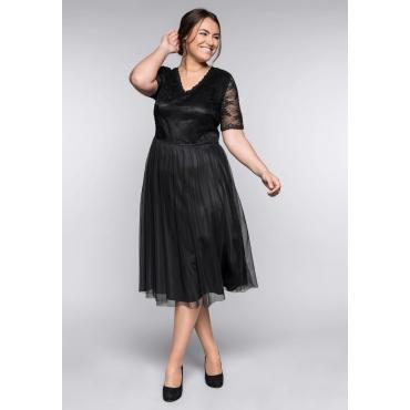 Große Größen: Abendkleid mit Spitze, schwarz, Gr.44-58