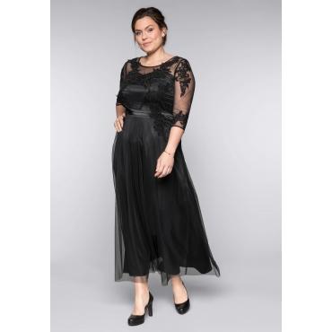 Große Größen: Abendkleid mit Spitzenapplikationen, schwarz, Gr.44-58