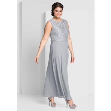 Große Größen: Abendkleid mit Spitzenoberteil, lichtgrau, Gr.44-58