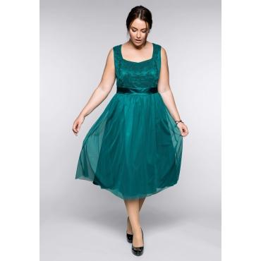 Große Größen: Abendkleid mit Stickerei und Perlen, smaragd, Gr.44-58