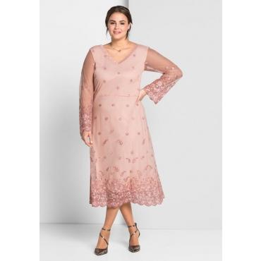 Große Größen: Abendkleid mit Stickereien und Spitze, puderrosé, Gr.44-58