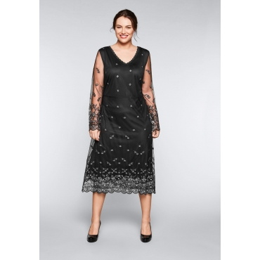 Abendkleid mit Stickereien und Spitze, schwarz, Gr.44-58