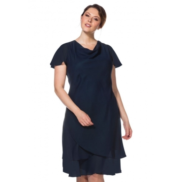 Große Größen: Abendkleid mit Wasserfallkragen, dunkelblau, Gr.40-58