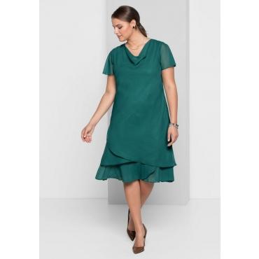 Große Größen: Abendkleid mit Wasserfallkragen, opalgrün, Gr.40-58