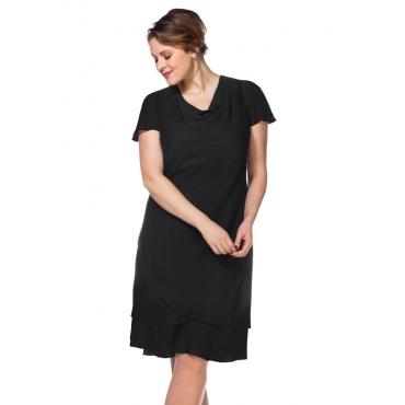 Große Größen: Abendkleid mit Wasserfallkragen, schwarz, Gr.40-58