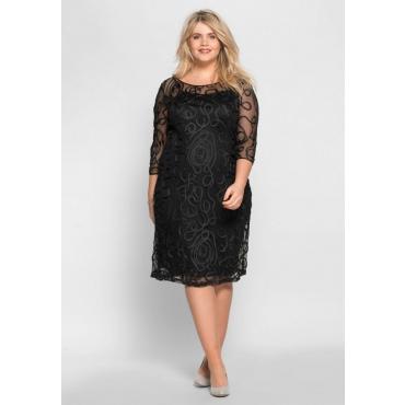 Große Größen: Abendkleid mit Zierborten, schwarz, Gr.40-58