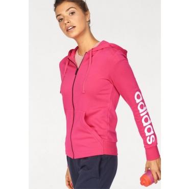 Große Größen: adidas Performance Kapuzensweatjacke »ESSENTIALS LINEAR FULLZIP HOODIE«, pink-weiß, Gr.L-XXL