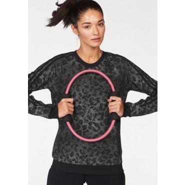 Große Größen: adidas Performance Sweatshirt »WOMAN ESSENTIAL AOP SWEATSHIRT«, schwarz, Gr.L-XXL