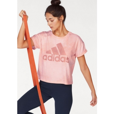 Große Größen: adidas Performance T-Shirt »WOMEN ESSENTIAL ALL OVER PRINT TEE«, rosa, Gr.L-XXL