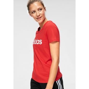 Große Größen: adidas T-Shirt »E LINEAR SLIM TEE«, rot, Gr.L-XXL