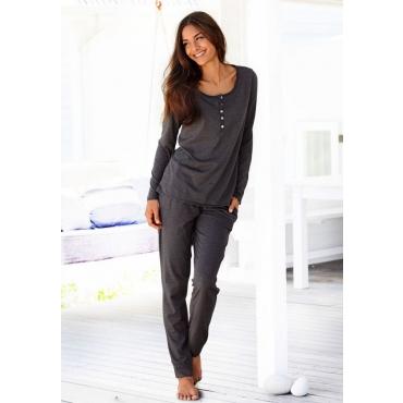 Große Größen: ARIZONA Basic-Pyjama in melierter Qualität mit Knopfleiste, anthrazit meliert, Gr.40/42-56/58