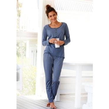 Große Größen: ARIZONA Basic-Pyjama in melierter Qualität mit Knopfleiste, jeans meliert, Gr.40/42-56/58