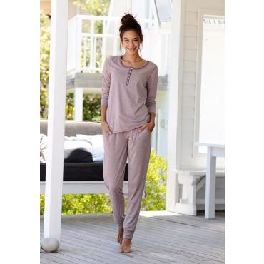 Große Größen: ARIZONA Basic-Pyjama in melierter Qualität mit Knopfleiste, mauve meliert, Gr.40/42-56/58