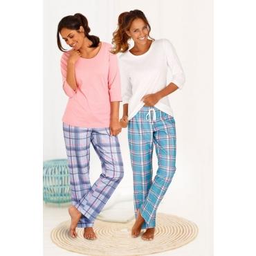Große Größen: ARIZONA Karierte Pyjamas (2 Stück) mit passenden Basicshirts, koralle+ecru, Gr.40/42-56/58