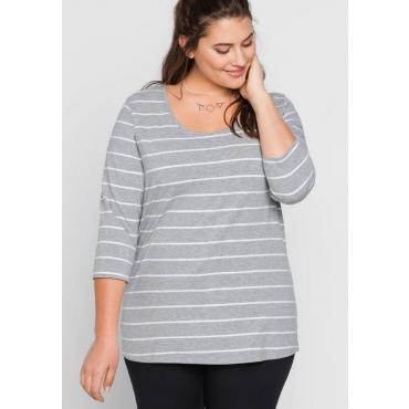 Große Größen: BASIC 3/4-Arm-Shirt mit garngefärbten Ringeln, grau meliert, Gr.44/46-56/58