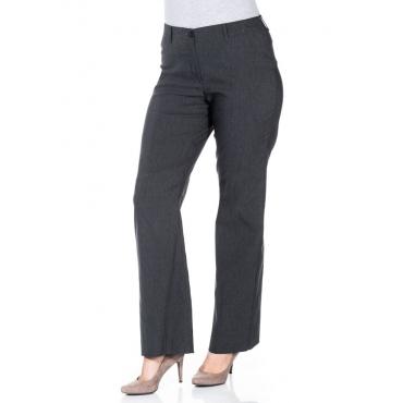 Große Größen: BASIC Bootcut Bengalin-Stretch-Hose, grau meliert, Gr.20-116