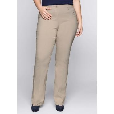 Große Größen: BASIC Bootcut Bengalin-Stretch-Hose, softtaupe, Gr.44-58