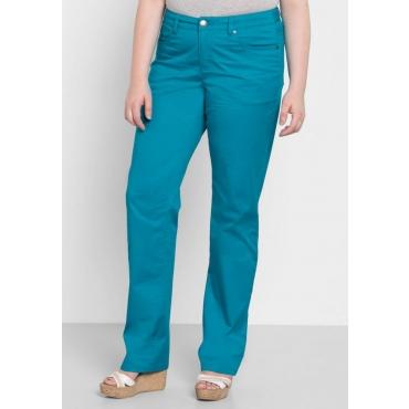 Große Größen: BASIC Gerade Stretch-Hose, italienblau, Gr.40-58