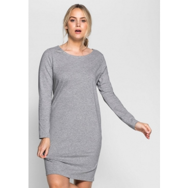 Große Größen: BASIC Kleid, grau meliert, Gr.40-58