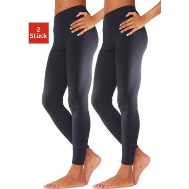 Große Größen: Basic Leggings im Doppelpack, Vivance, passt sich der Körperform perfekt an, in vielen Farben, 2x schwarz, Gr.32/34-56/58