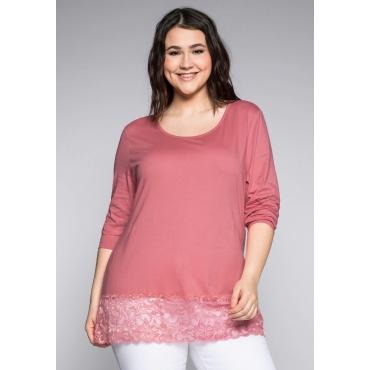 Große Größen: BASIC Longshirt mit Spitze, altrosé, Gr.44/46-56/58