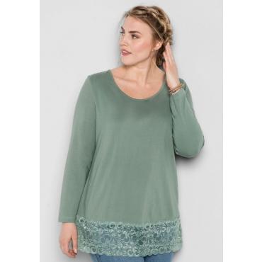 Große Größen: BASIC Longshirt mit Spitze, eukalyptus, Gr.44/46-56/58