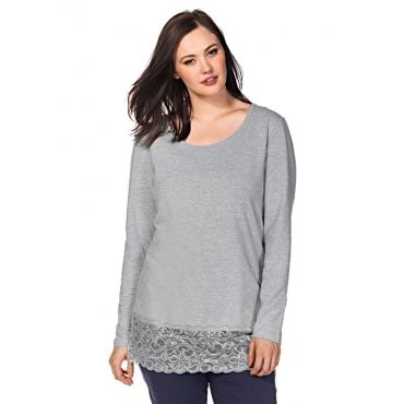 Große Größen: BASIC Longshirt mit Spitze, grau meliert, Gr.40/42-56/58