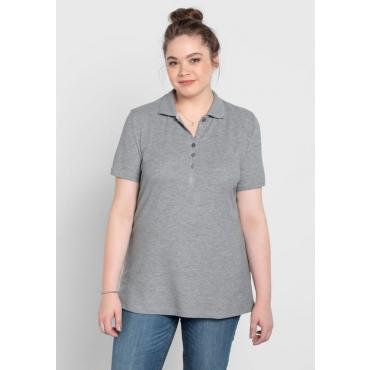 Große Größen: BASIC Poloshirt, grau meliert, Gr.40/42-56/58