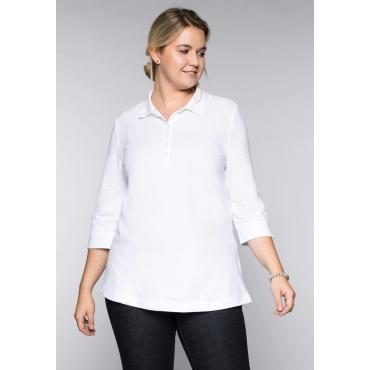 Große Größen: BASIC Poloshirt mit 3/4-Ärmeln und Seitenschlitzen, weiß, Gr.44/46-56/58