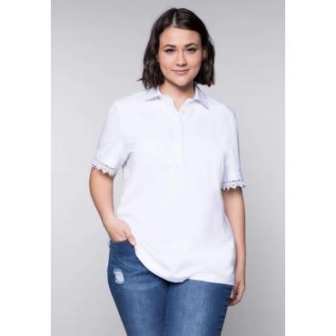 Große Größen: BASIC Poloshirt mit Spitze am Ärmel, weiß, Gr.44/46-56/58