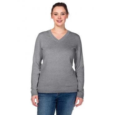 Große Größen: BASIC Pullover aus Feinstrick mit V-Ausschnitt, grau meliert, Gr.40/42-56/58